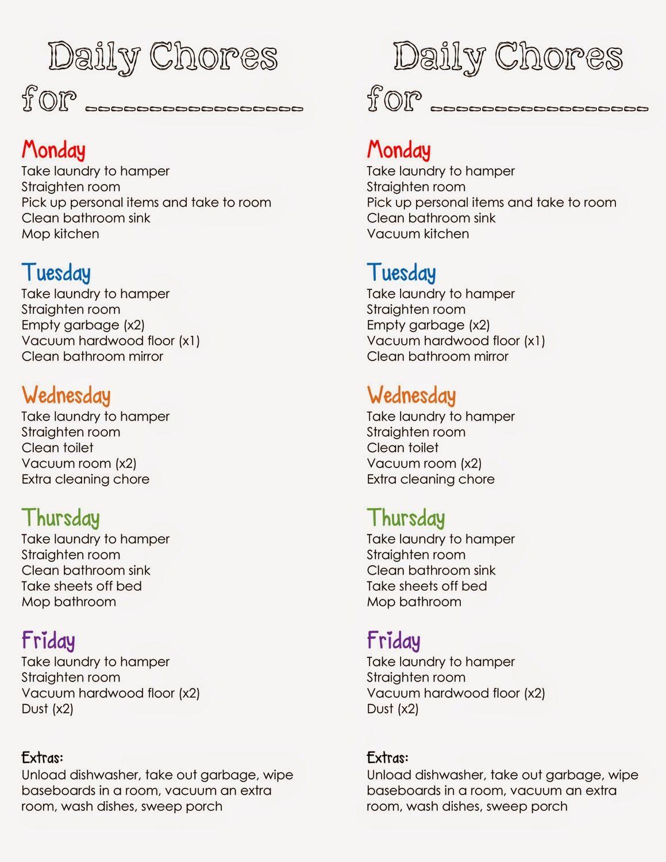 DailyChoresinColumns1.jpg (1159×1500) Chore chart