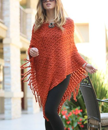 2ec6be6895a Love this Rust Cable-Knit Poncho on  zulily!  zulilyfinds