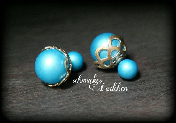 Blaue Perlen Doppel-Perlen Ohrstecker von byschmuckesLaedchen