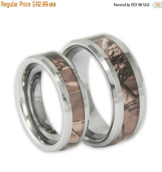 Couples Tree Camo Wedding Ring Set His And Hers Matching Camouflage
