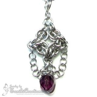 Byzantine-Olivia style Chainmaille Weave Pendant with wire