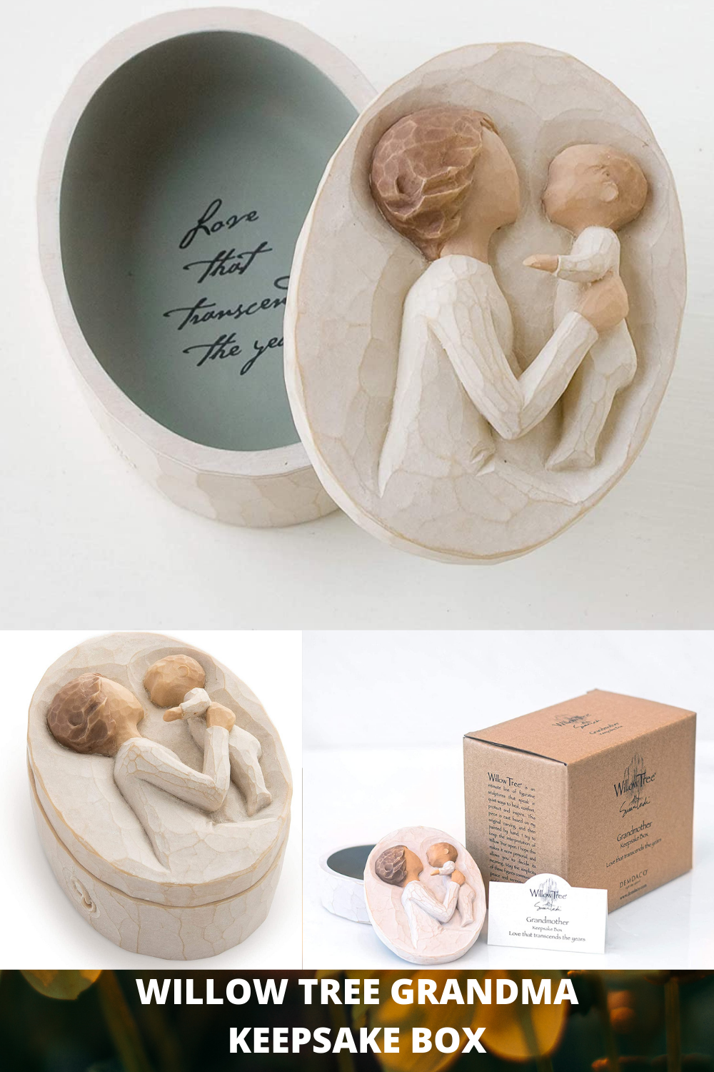 This Willow Tree piece is a hand-painted resin box with bas-relief carving on lid. Ready to display on a shelf, table. Inside, the bottom of box reveals a message of love and friendship as a hidden discovery. Packaged in fitted box ready for gift-giving. Willow Tree sculptures express love, closeness, healing, courage, hope… emotions of a life well lived. #GiftIdeasGrandma #craftedgifts #uniquegifts #grandma #giftsdiys