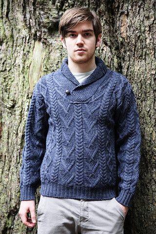 Mens Aran Cowl Neck Sweater SH4177 - Aran Sweaters & Irish ...
