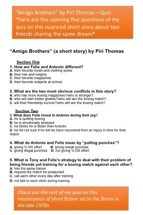 """Amigo Brothers"" by Piri Thomas-Quiz 