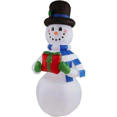 65 ft H Inflatable Snowman with Present Pixie Pinterest - inflatable outdoor christmas decorations