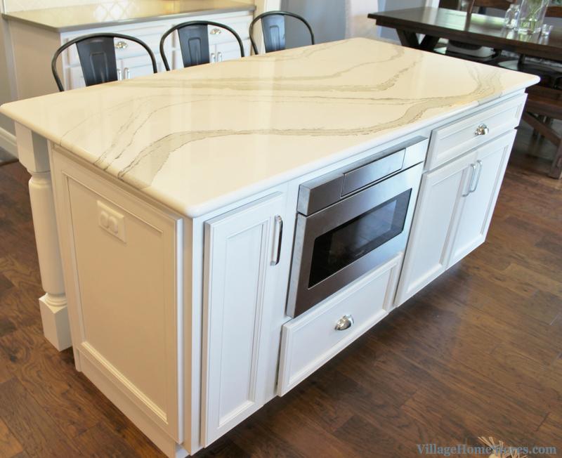 kitchen island with sharp microwave