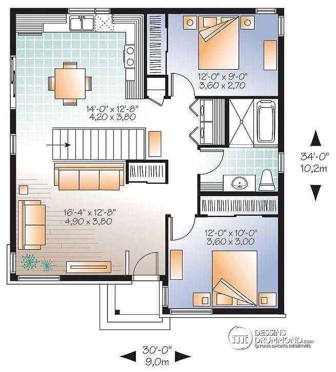 W3129 bungalow plain pied conomique moderne 2 chambre for Porte patio 8 pieds