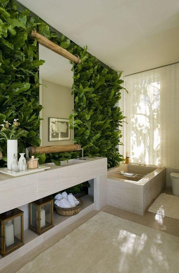 Ba os en color verde una buena opci n ba os plantas y deco for Plantas artificiales para interiores