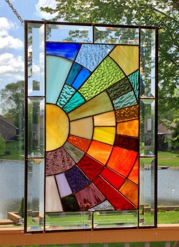 Beveled Stained Glass Window Panel Rainbow Arch Geometric Stained