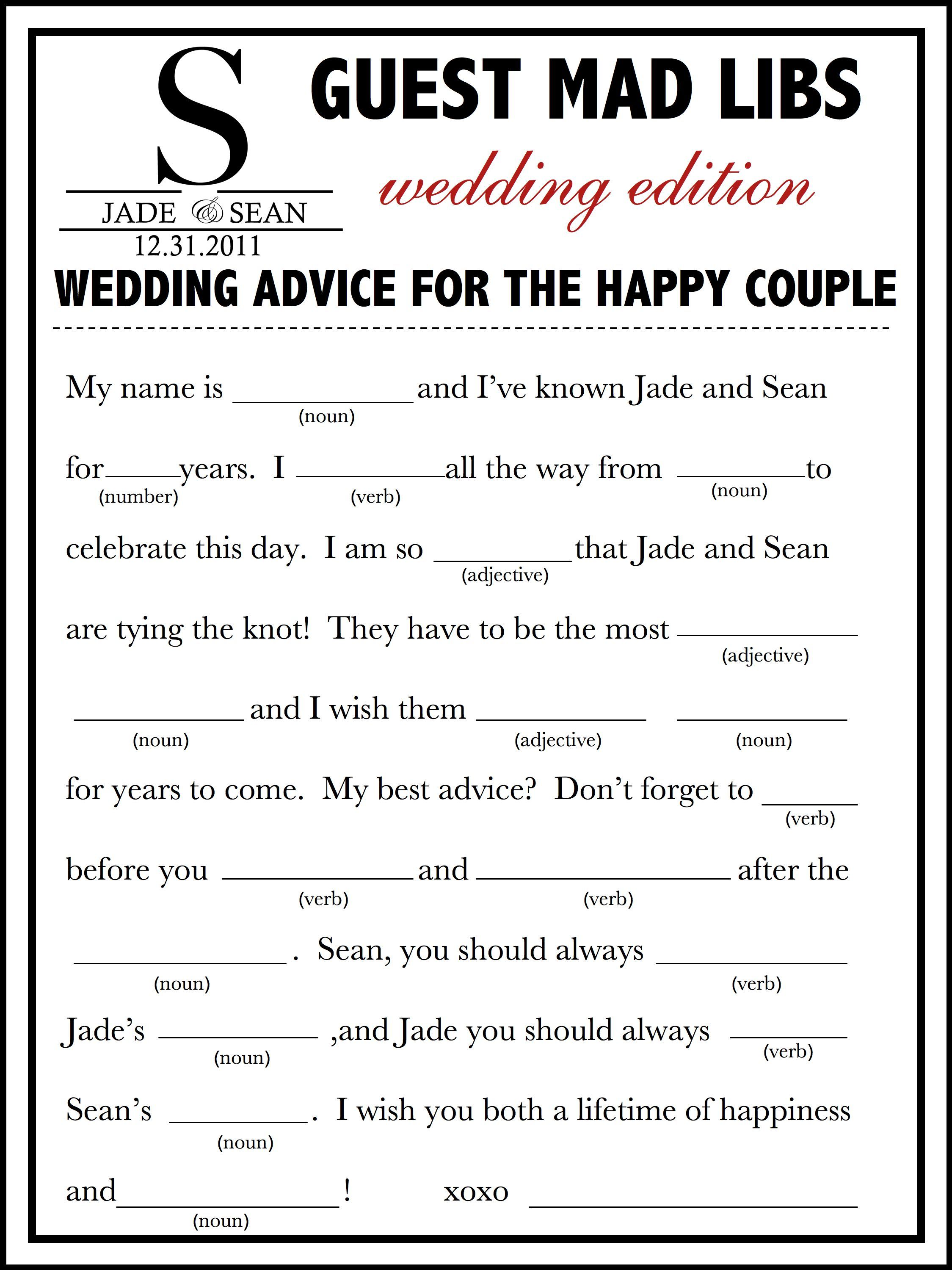 Wedding Mad Libs Template Free  Fun Unique Guest Book Alternative