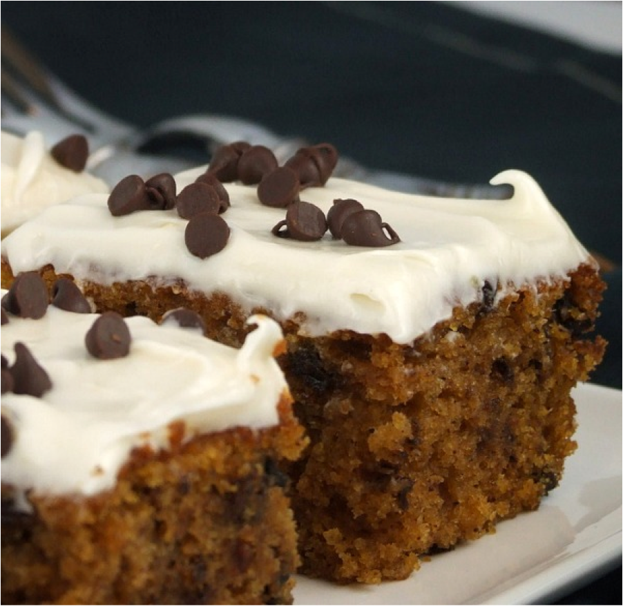 taste: Chocolate Chip Pumpkin Cake with Cream Cheese Frosting