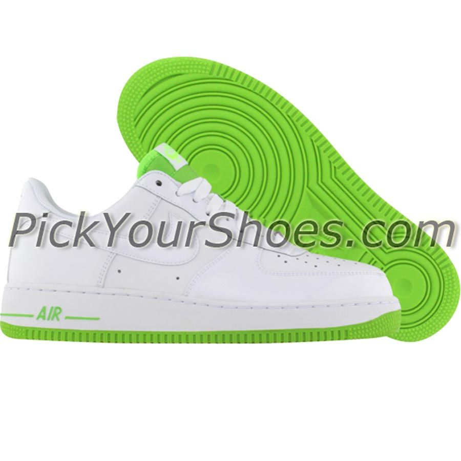 nike womens air force 1 low (white  electric green) 315115 911