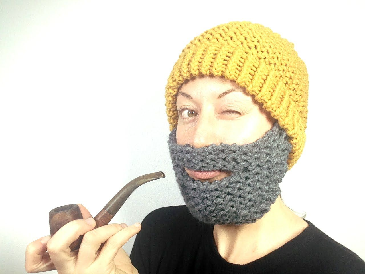 How to Loom Knit a Beard Hat (DIY Tutorial) - attach beard with ...