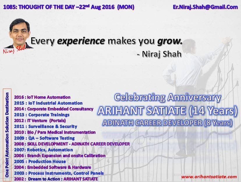 1085: THOUGHT OF THE DAY –22nd August 2016 (MON)   #ArihantSatiate   #NirajShah (er.niraj.shah@gmail.com)