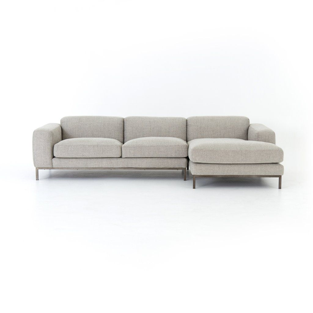 Benedict 2 Piece Sectional In Gabardine Grey In 2019