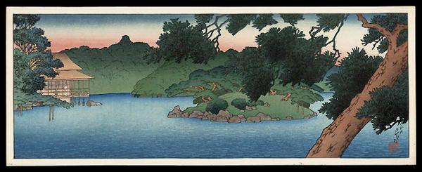 1920 - Hasui, Kawase -Restaurant at the edge of Matsu Pond