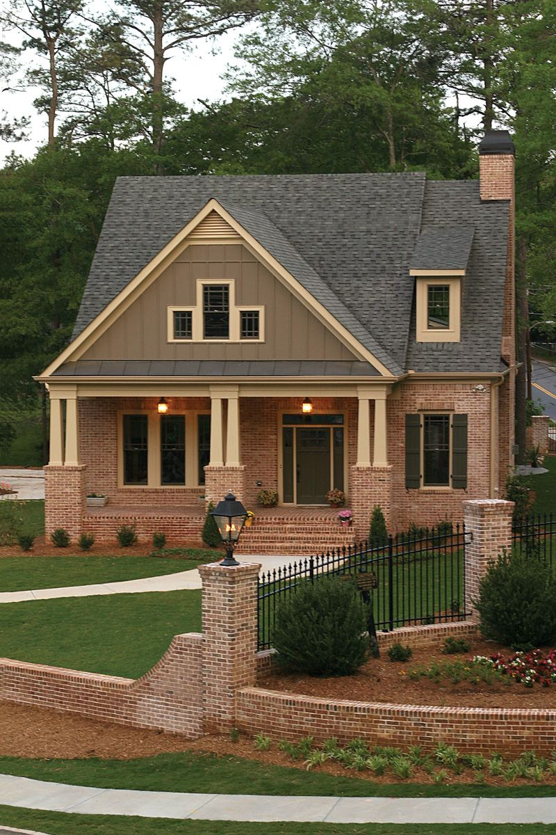 green trace craftsman home brick house plansbrick - Red Brick House Plans