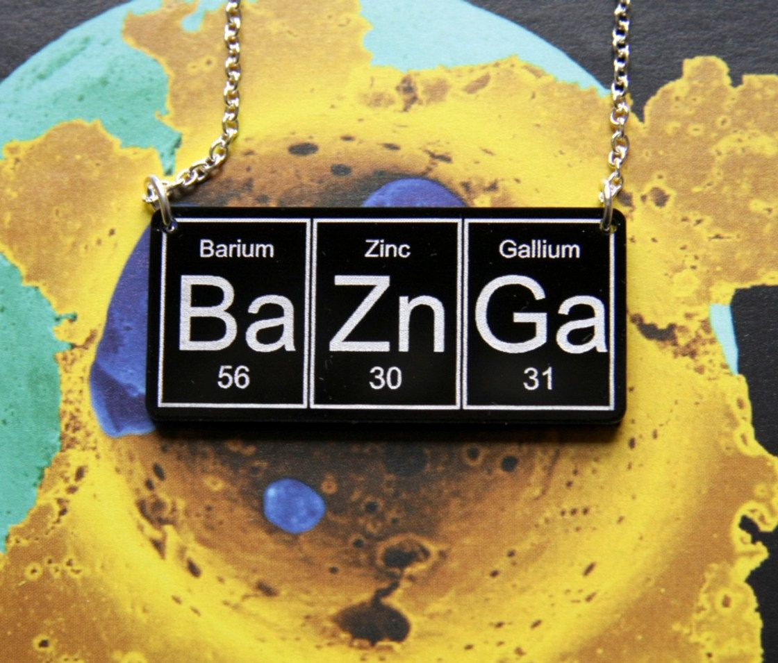 Bazinga baznga necklace on silver plated chain black baznga necklace on silver plated chain periodic table gamestrikefo Image collections