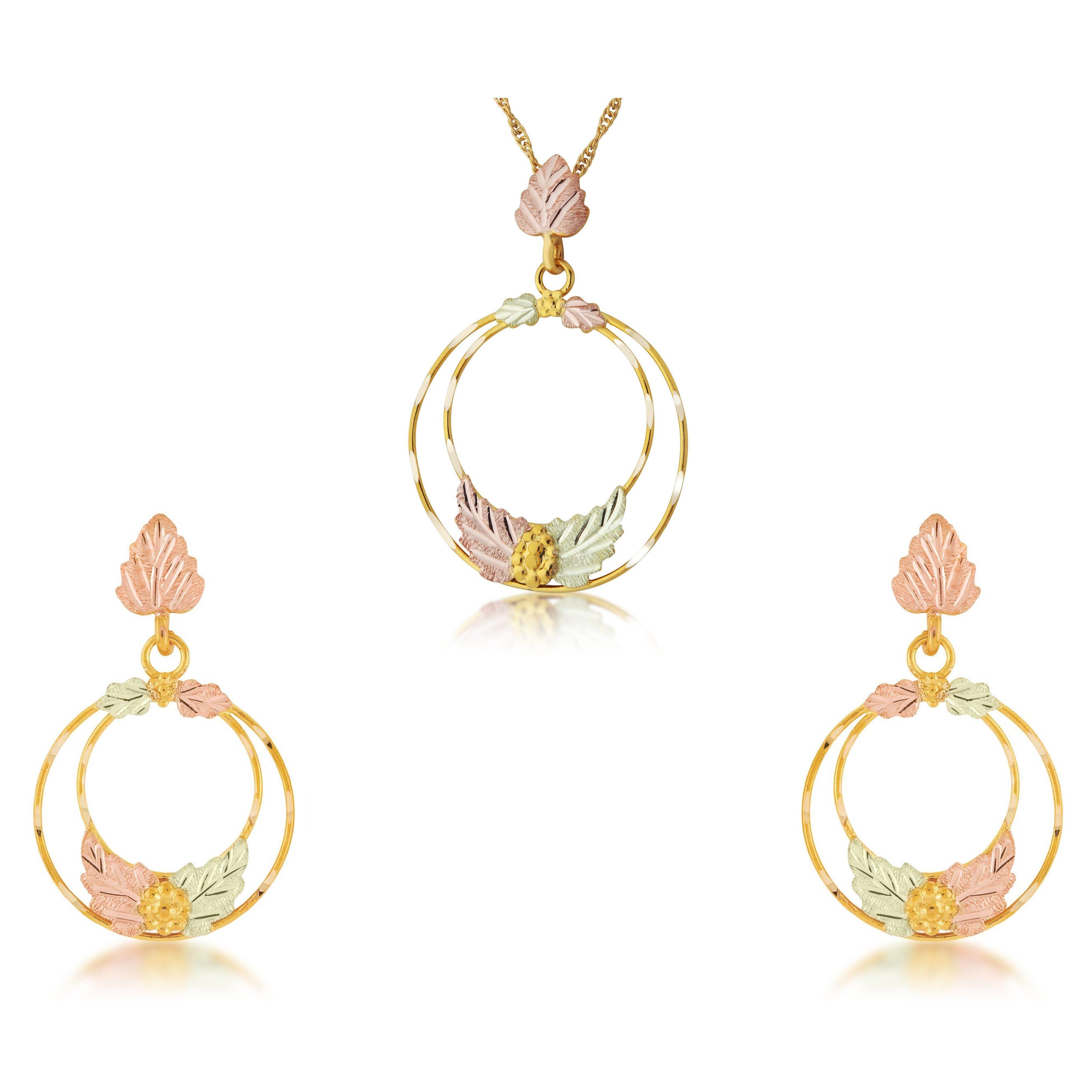Black hills golden circles earrings u pendant set i golden circle