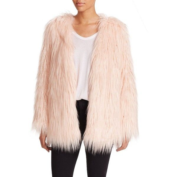 Tart Rella Faux Fur Coat (1.110 BRL) ❤ liked on Polyvore featuring outerwear, coats, apparel & accessories, blush, imitation fur coats, pink coat, faux coat, faux fur coats and collarless coat