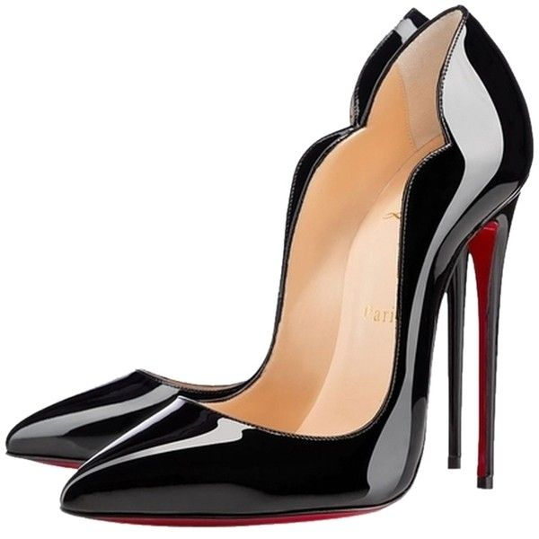 90d20e32169 Christian Louboutin Rare Hot Chick 130 Scallop Patent 37 Black Pumps ...