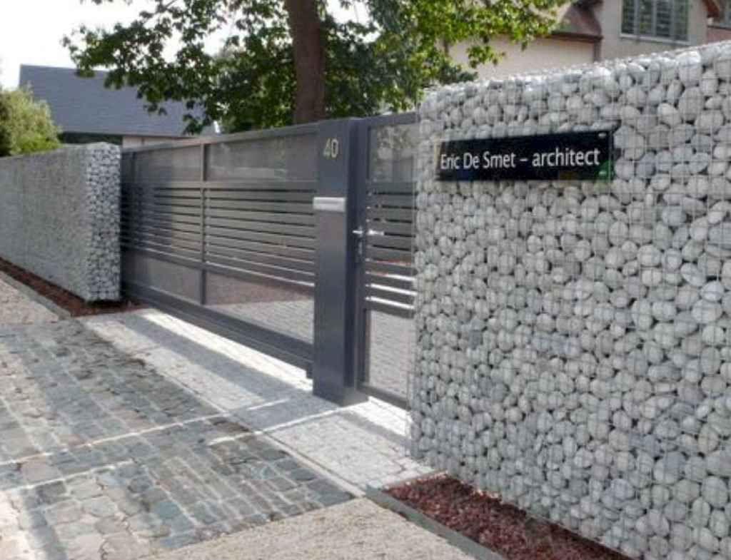 01 Gorgeous Gabion Fence Design For Garden Ideas Decorationroom Ide Pagar Desain Taman