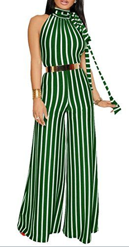 a7ce2af1dd56 Cruiize Women Sleeveless Slim Striped Wide Leg Palazzo Romper Jumpsuit  Green M