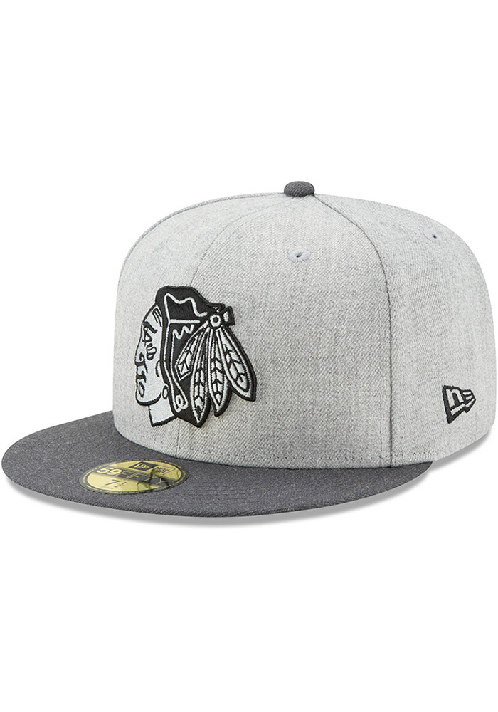 low priced a2d17 e748f New Era Chicago Blackhawks Mens Grey Heather Action 59FIFTY Fitted Hat, Grey,  WOOL BLEND, Size 7 3 8