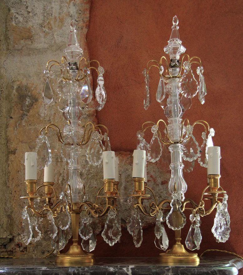 Pair Of Gilded Girandoles Xixeme Century French Candle Sconces Crystal Chandelier