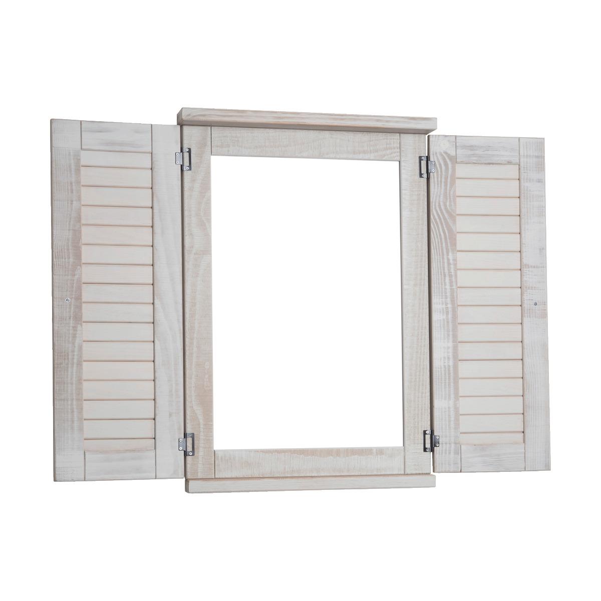Miroir Rectangulaire Fenetre En Pin Brosse Blanc Alinea Miroir Rectangulaire Miroir Et Persienne