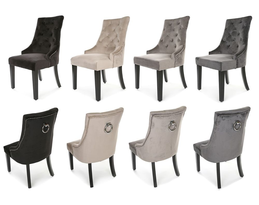New Heston Velvet Dining Chair Stud And Knocker Oyster Black Light Or Deep Grey Home Furniture Diy Velvet Dining Chairs Dining Chairs Gray Dining Chairs