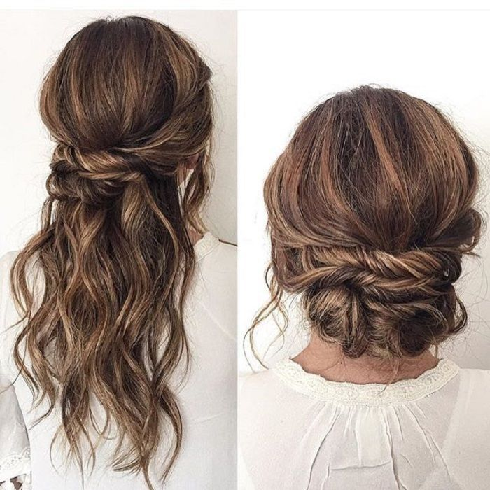 Half Up Half Down Wedding Hairstyle Partial Updo Bridal Hairstyle