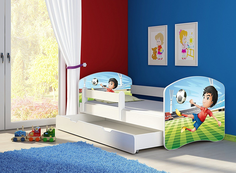 Fussballzimmer Fussball Bett Kinderbett Komplett Set 140 X 70 Cm Inkl Matratze Lattenrost Und Bettkasten Unterbett Schublade Auf Rollen K Muros