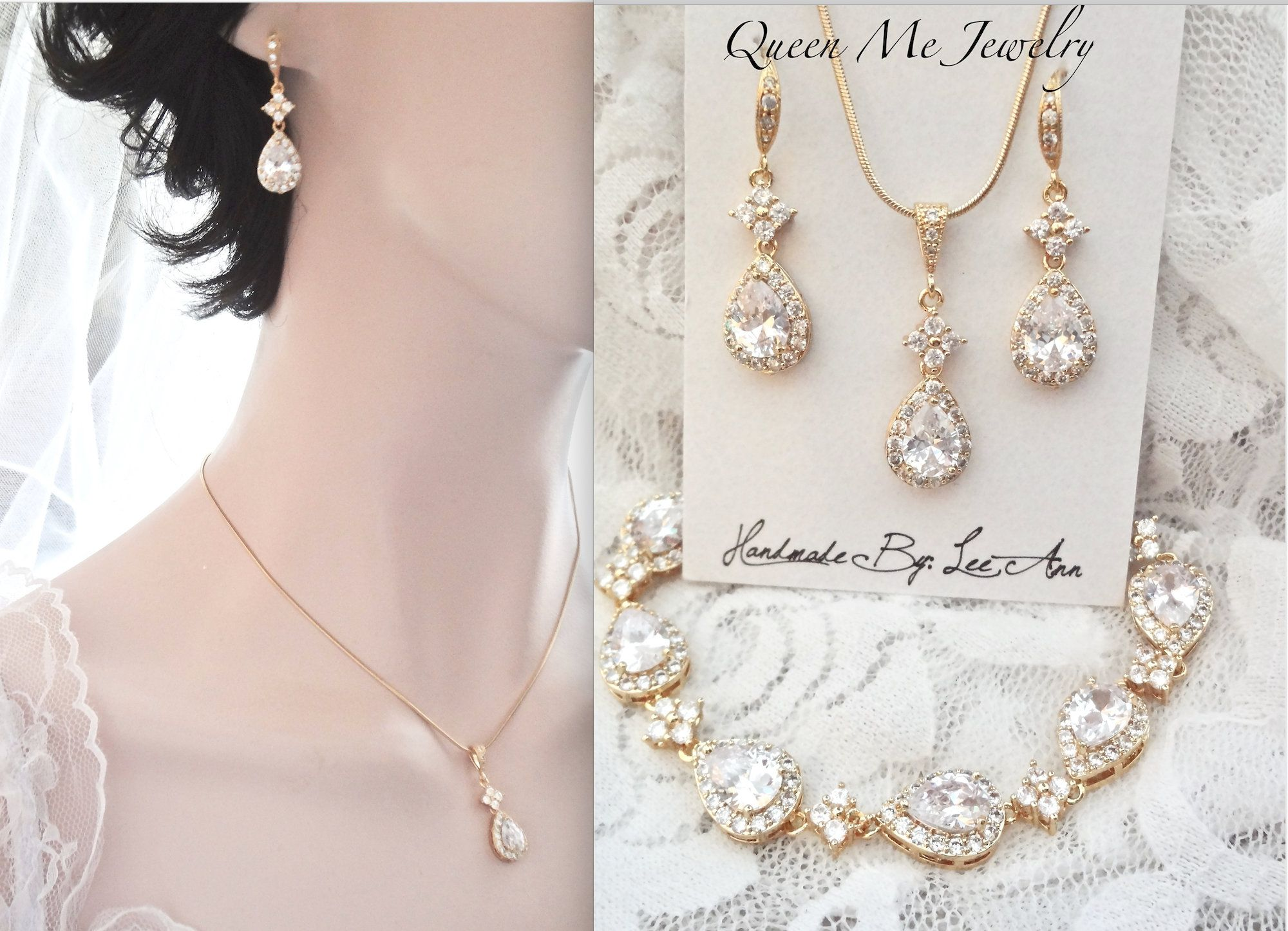 Bridal jewelry set Gift For a Bride Mother Wife Elegant Necklace Earrings Bracelet Marquise Brides Mother of Bride Wedding jewelry LILLY