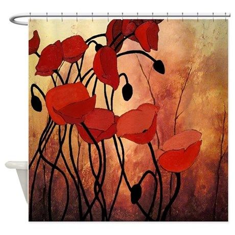Red Poppies Shower Curtain On CafePress