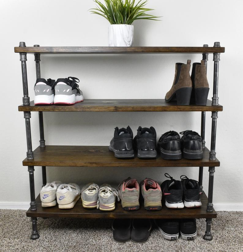 Industrial Style Shoe Rack Entryway Shoe Storage Rustic Shoe