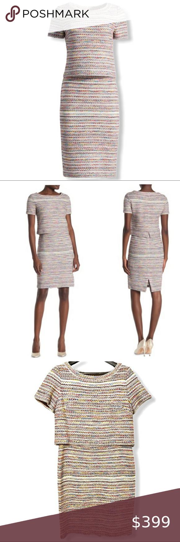 St John Flag Tweed Stripe Knit Dress Cream Multi Striped Knit Dress Metallic Knit Dress Vintage Striped Dress [ 1740 x 580 Pixel ]