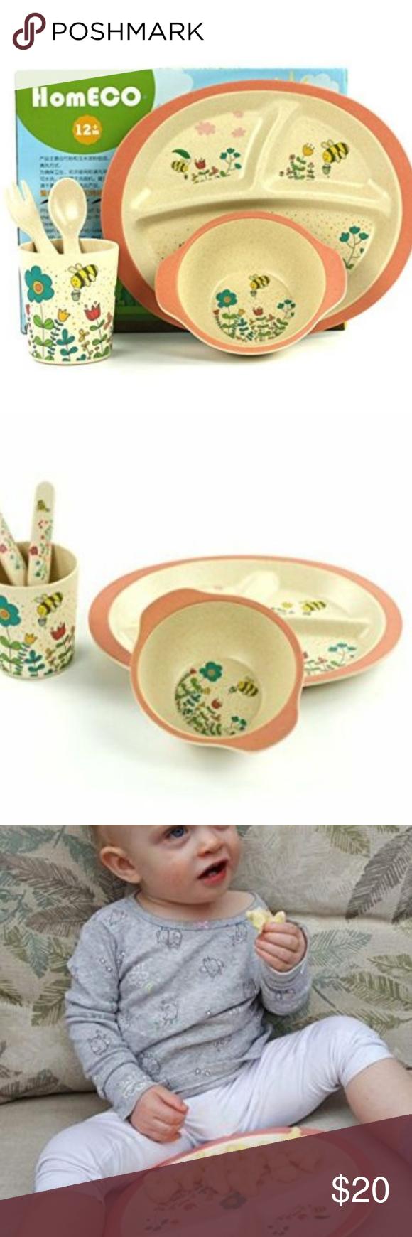 Baby Dinnerware Set Bamboo Fiber Bowl Plate Cup Fork Spoon Flower Bee Kids