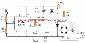 220v Touch Lamp Circuit With Delay Timer Circuit Projects Circuit Electronics Circuit