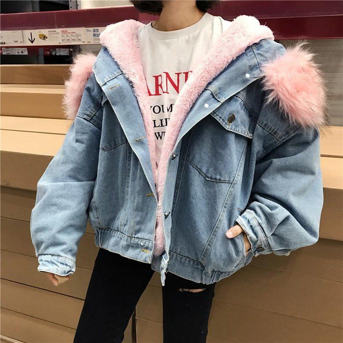 Women S Jean Jacket Big Faux Fur Collar Oversized Batwing Sleeve Denim Wool Liner Velvet Warm Hooded For Winter Denim Jacket Women Jean Jacket Women Long Denim Jacket [ 1100 x 1100 Pixel ]