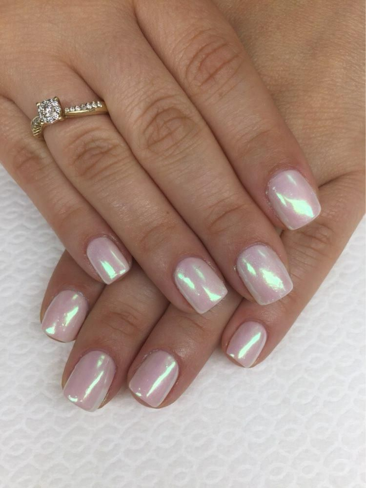 Mirror Nail Glitter Acrylic Nail Design For New Years For Christmas ...