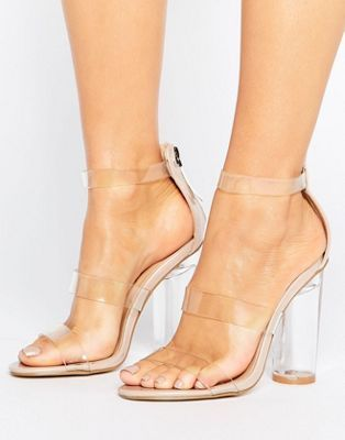Truffle Collection See Through Perspex Heel Sandal at asos.com
