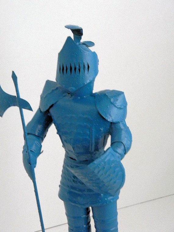 Upcycled Metal Knight Home Office Desk Decor Kitschy