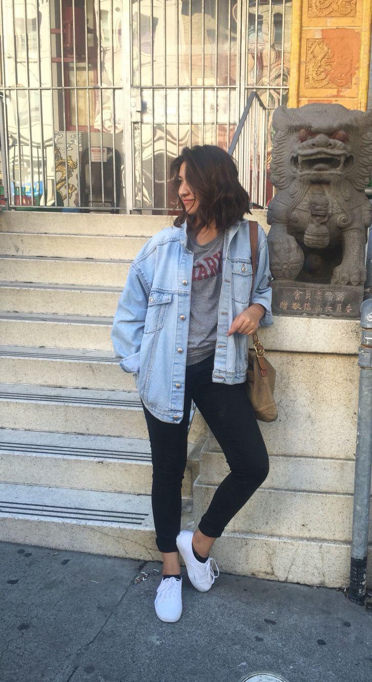 Jean Jacket Black Jeans White Vans Classic Harvard Grey