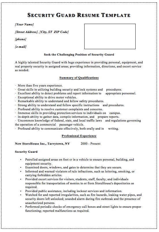 Security Guard Resume Template Macrobutton Dofieldclick Your Name