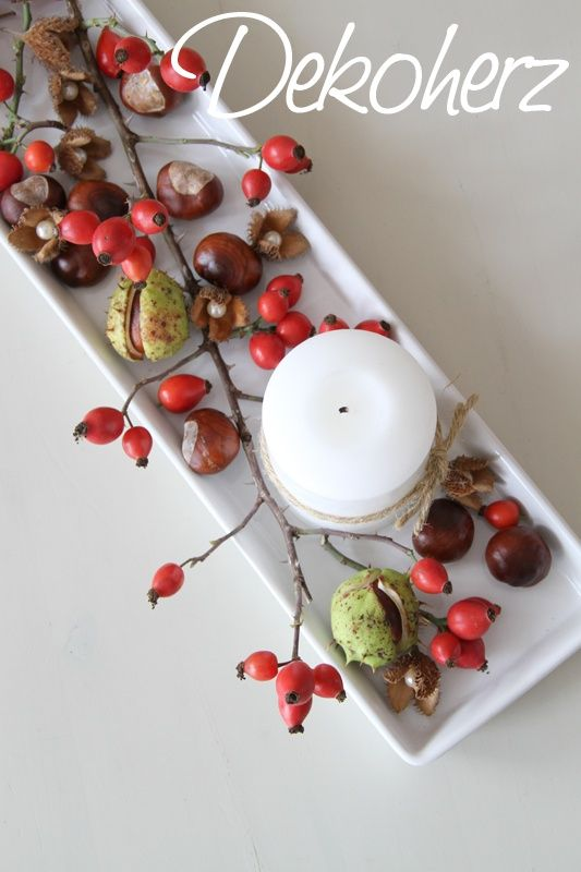 Decorative heart: rose hips, chestnuts ... repinned by www.landfrauenver ... #land women #herbstdekotisch