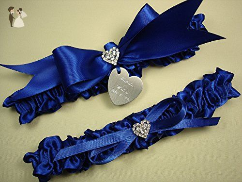 b565c19e4 Royal Blue Wedding Garter Set in Satin with Rhinestone Hearts and Personalized  Engraving - Bridal garters ( Amazon Partner-Link)