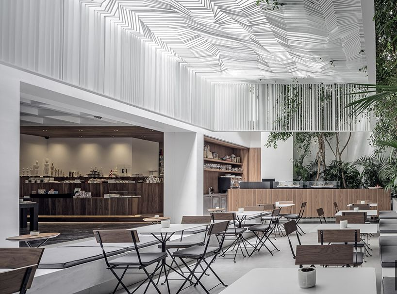 Kois Associated Architects Hang Sculptural Ceiling Canopy Over Museum Cafe In Athens Minimalist Kitchen Design Restaurant Interior Design Minimalist Decor