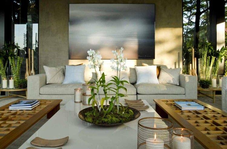 modernes Wohnzimmer mit Zen Ambiente und Zimmerpflanzen | Diseño ...