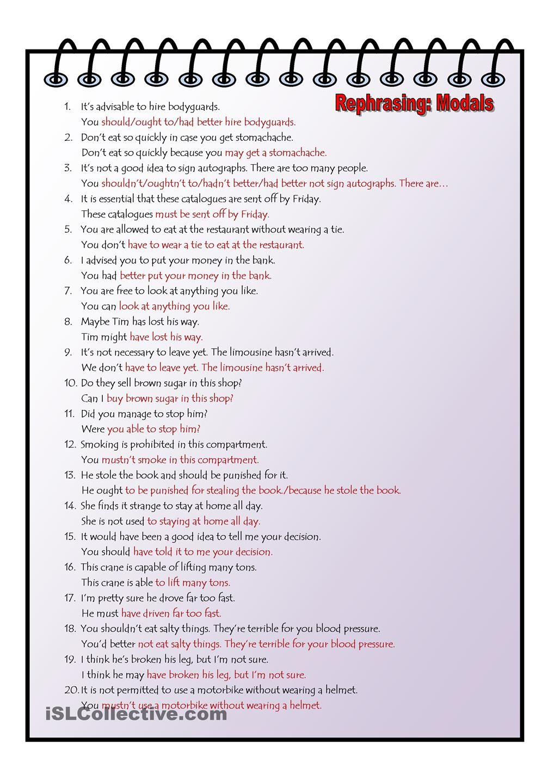 Rephrasing Modal 8o Sentence Plu Key Teaching English Grammar Learn Writing Skills Paraphrasing Example Pdf